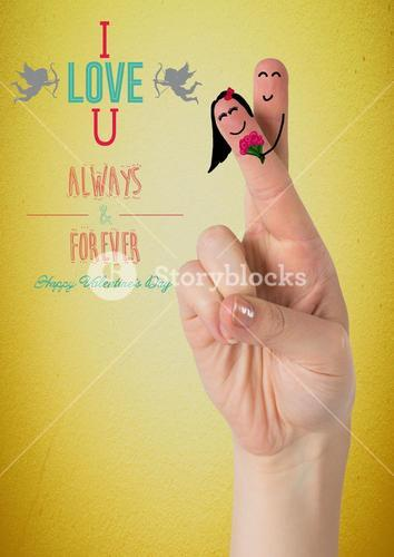 Smiling finger couple with love message
