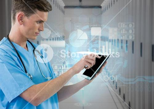 Doctor using digital tablet against digitally generated data room
