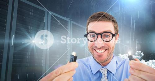 Nerd businessman holding cable with flares