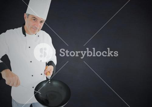 Portrait of chef with frying pan