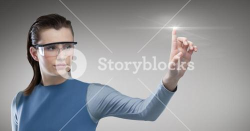 Woman with vr glasses touching flare
