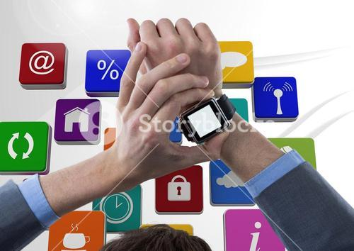 Man using smartwatch against application icons in background