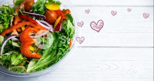 Bowl of salad with fresh chopped vegetables