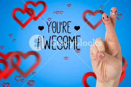 Smiling couple fingers with digitally generated hearts and message