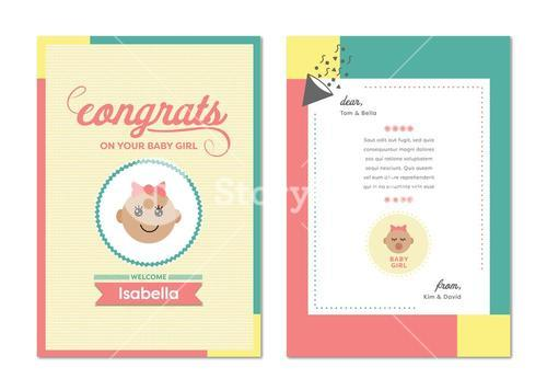 Vector icon of congratulation greeting card on birth of baby girl