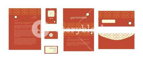 Vector design template of invitation card and envelope