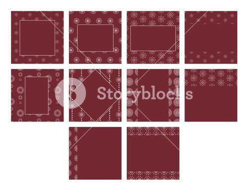 Maroon color vector templates with floral patterns