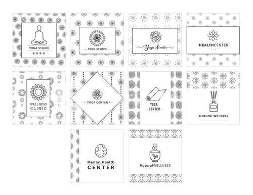 Vector icon set of various fitness centers