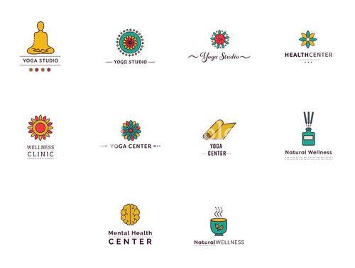 Various vectors icons of yoga and fitness centers