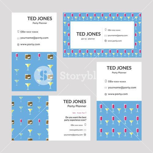 Vector templates of Ted Jones - Party planner visiting cards