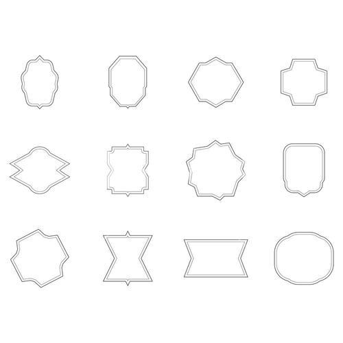 Vector set of various outlined shapes