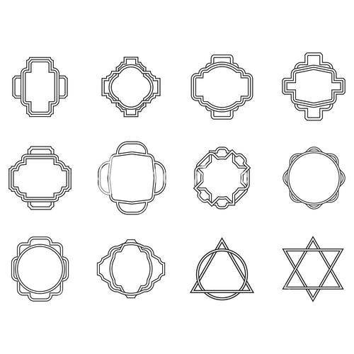 Vector set of various outlined shapes with patterns