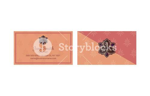 Vector templates of a visiting card with floral design