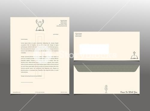 Vector image of letter format and envelope