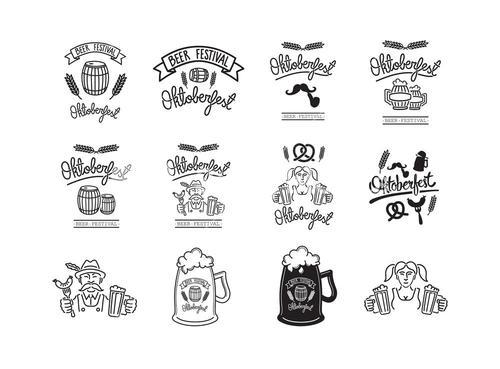 Vector icon set of beer feast
