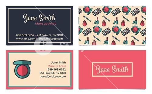Front and back templates of two visiting card of a make-up artist