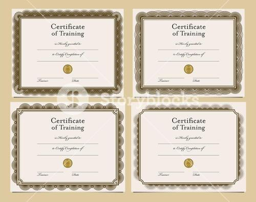 Set of four certificate templates