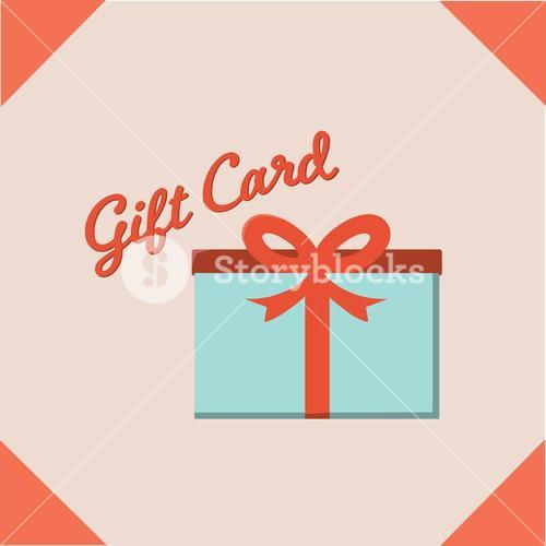 Vector image of gift box with text gift card