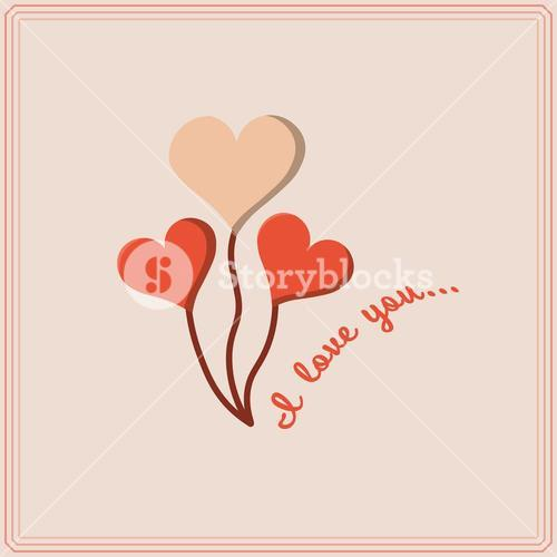 Vector image of heart shape with text I love you
