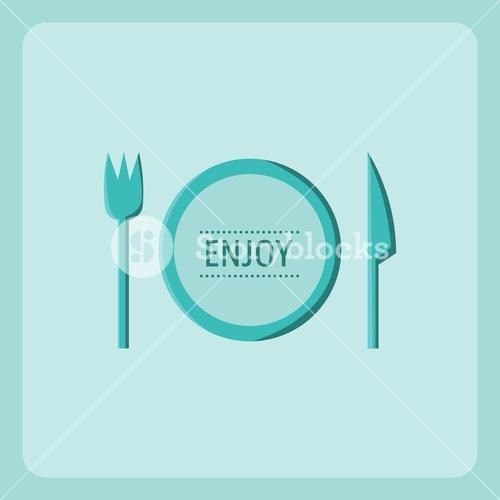 Vector image of cutlery with text enjoy
