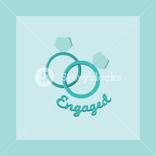Vector image of engagement ring with text engaged