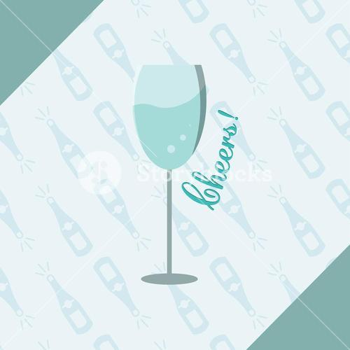 Vector image of wine glass with text cheers