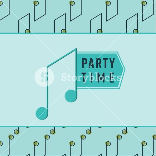 Vector image of music note with text party time