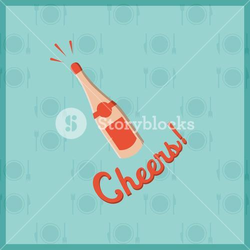 Vector image of champagne bottle with text cheers