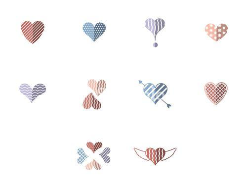 Set of vector icons with various heart shape