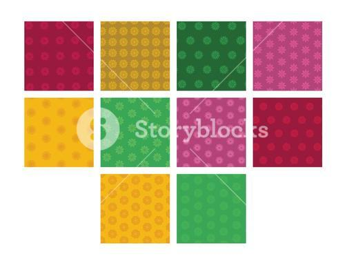 Vector image of floral patterns against white background