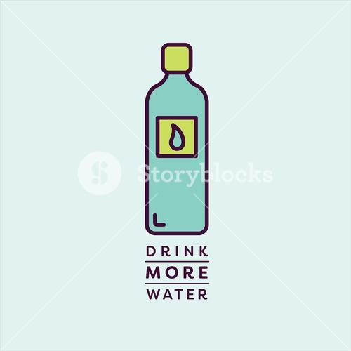 Vector image of water bottle reading drink more water