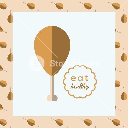 Vector image of roasted chicken leg reading eat healthy