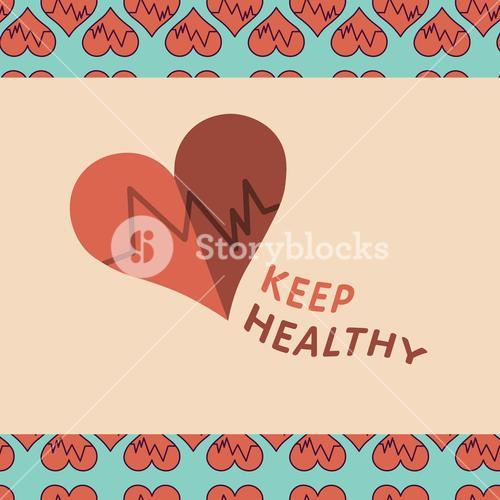 Vector image of heart beat reading keep healthy