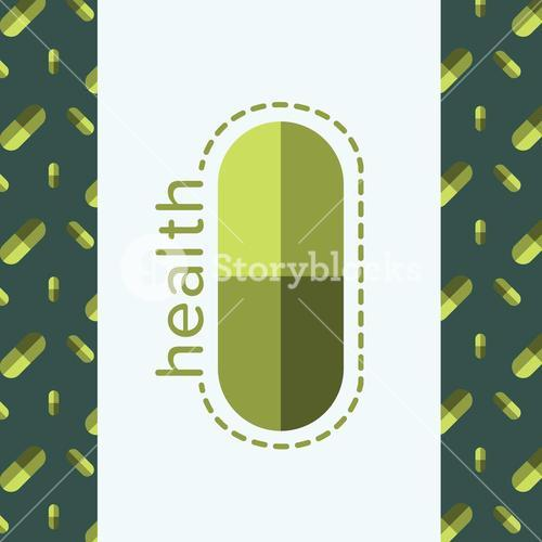 Vector image of a pill reading health