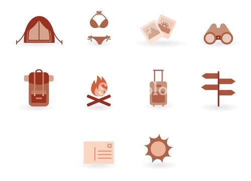 Vector set with various travel and tourism icons