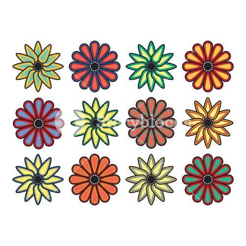Vector set of colorful flowers