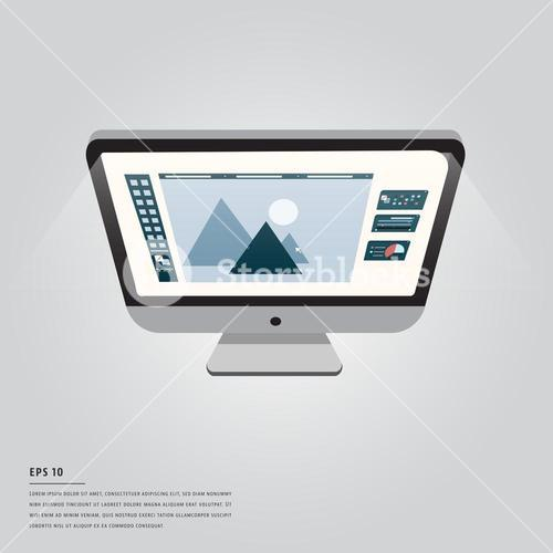 Vector image of computer with graphic design and lorem ipsum