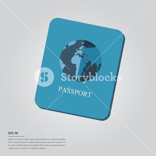 Vector image of passport and lorem ipsum text