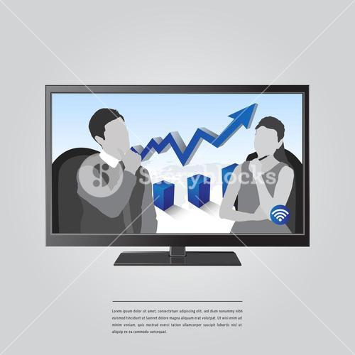 Vector image of business concept on computer with lorem ipsum text