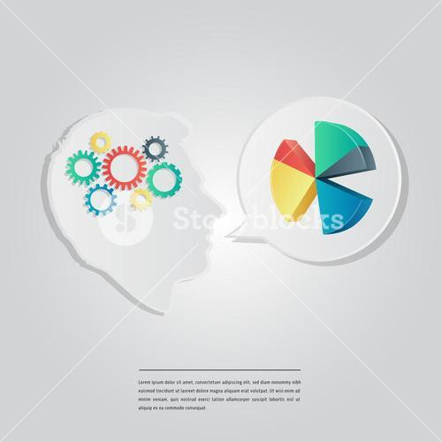 Vector image of various gears, pie diagram with lorem ipsum