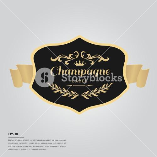 Lorem ipsum text with champagne bottle label