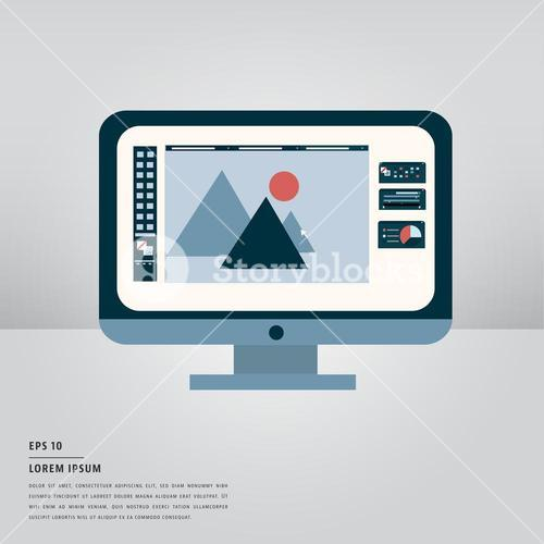 Lorem ipsum text and desktop pc monitor with graphic design
