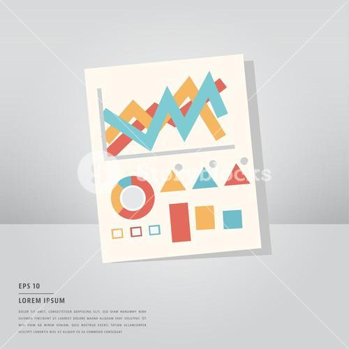 Lorem ipsum text and vector icon set of graph