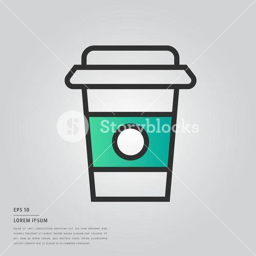 Lorem ipsum text and disposable cup