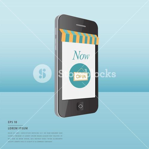 Lorem ipsum text and online shopping symbol on smartphone screen