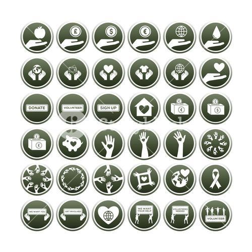 Various vector icon set of charity
