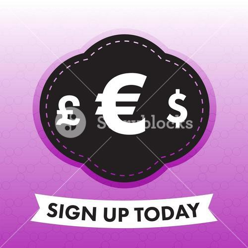 Vector image of currency signs with text sign up today