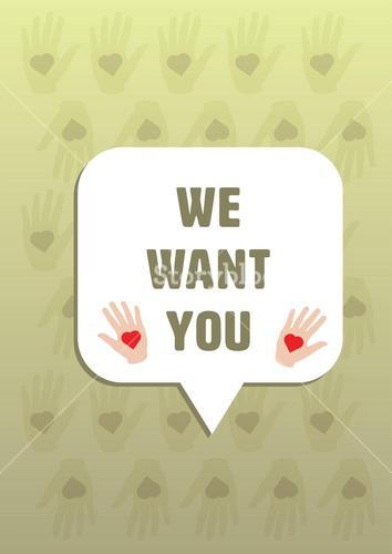 Vector icon of we want you message