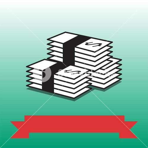 Vector image of dollars stack