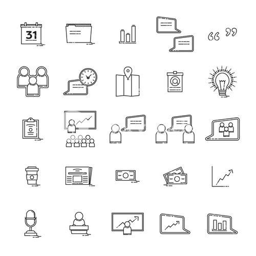 Vector icon set of business